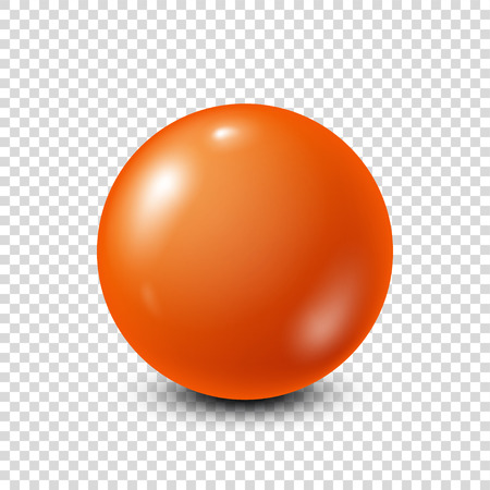 Orange lottery, billiard,pool ball. Snooker. Transparent background. Vector illustration.