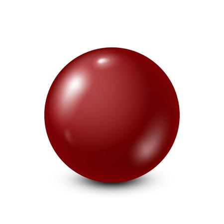 Dark red lottery, billiard,pool ball. Snooker. White background. Vector illustration.