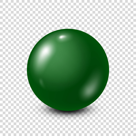 Green lottery, billiard,pool ball. Snooker. Transparent background. Vector illustration.