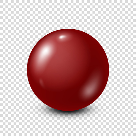 Dark red lottery, billiard,pool ball. Snooker. Transparent background. Vector illustration.