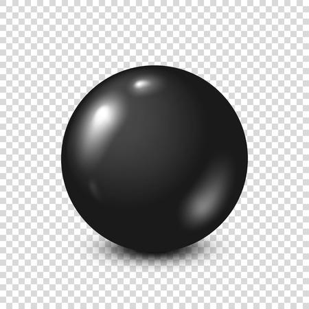 Black lottery, billiard,pool ball. Snooker. Transparent background. Vector illustration.