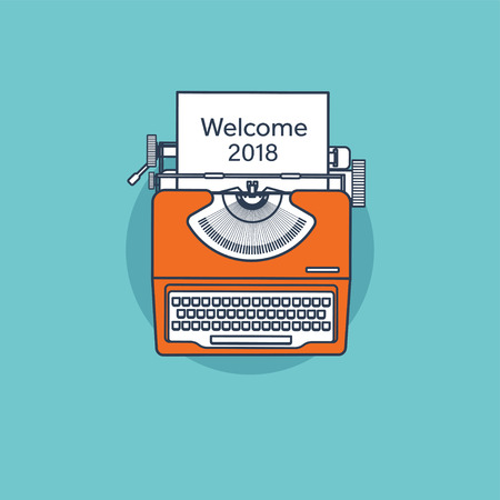 Typewriter in a flat style. Christmas wish list. Letter to Santa. New year. 2018. December holidays.