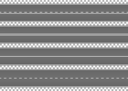 Weg, straat met asfalt. Snelweg. Weg voor vervoer. Isolated.Speedway.Vector illustratie.