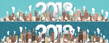 Winter urban landscape. City with snow. Christmas and new year. Cityscape. Buildings.2018.Vector illustration. Illustration