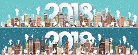 Winter stedelijk landschap. Stad met sneeuw. Kerstmis en Nieuwjaar. Cityscape. Gebouwen.2018. Vectorillustratie.