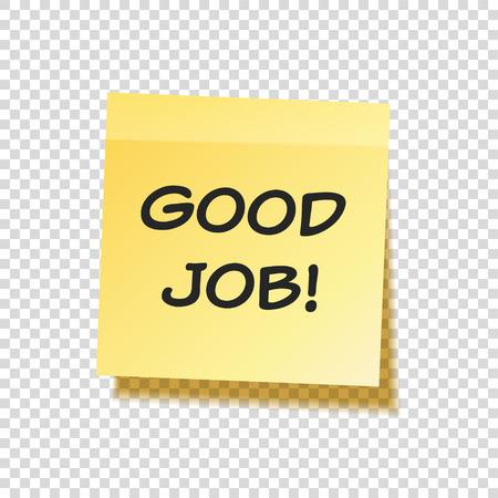 Kleverige die nota met tekst en schaduw op transparante reeks wordt geïsoleerd als achtergrond. Geel papier. Bericht op briefpapier.Reminder. Vector illustratie