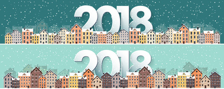 residential: Winter urban landscape. City with snow. Christmas and new year. Cityscape. Buildings.2018.Vector illustration. Illustration