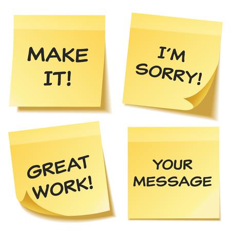 텍스트와 그림자 투명 배경에 고립 된 스티커 메모를 설정합니다. 노란 종이. Notepaper.Reminder에 메시지입니다. 벡터 일러스트 레이 션