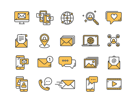 Communication. Social media. Online chatting. Phone call, app messenger. Mobile,smartphone. Computing.Email. Thin line yellow web icon set. Outline icons collection. Vector illustration.