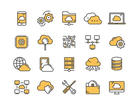 클라우드 컴퓨팅. 인터넷 기술. 온라인 서비스. 데이터, 정보 보안. 연결. 얇은 라인 노란색 웹 아이콘을 설정합니다. 개요 아이콘 컬렉션입니다. 벡터