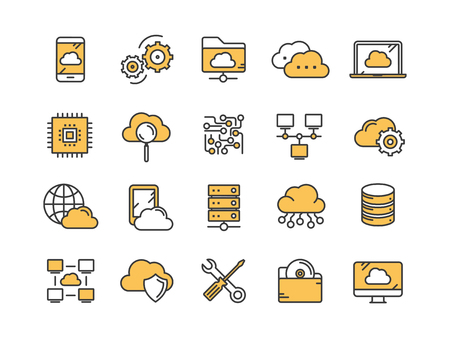 Cloud omputing. Internet technology. Online services. Data, information security. Connection. Thin line yellow web icon set. Outline icons collection.Vector illustration.