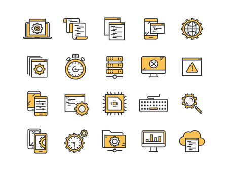 Seo and app development. Search engine optimization. Internet, e-commerce.Thin line yellow web icon set. Outline icons collection. Vector illustration. Illustration