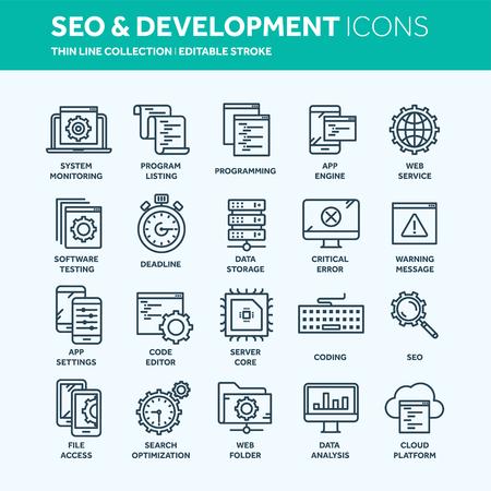 Seo とアプリの開発。検索エンジンの最適化。インターネット、電子商取引。細い線の web アイコンを設定します。アウトラインアイコンのコレクシ  イラスト・ベクター素材