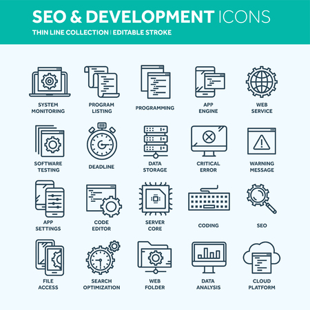 Seo and app development. Search engine optimization. Internet, e-commerce.Thin line web icon set. Outline icons collection. Vector illustration. 矢量图像