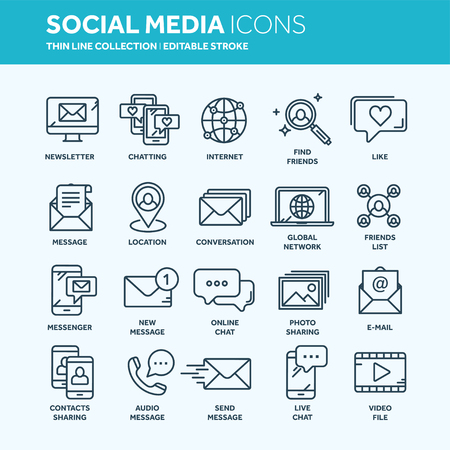 Communication. Social media. Online chatting. Phone call, app messenger. Mobile,smartphone. Computing.Email. Thin line web icon set. Outline icons collection. Vector illustration. Illustration