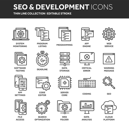 Seo and app development. Search engine optimization. Internet, e-commerce.Thin line web icon set. Outline icons collection. Vector illustration. Illustration