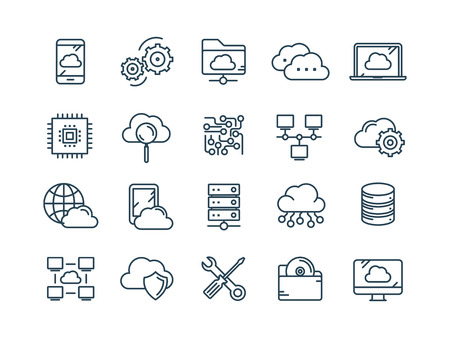 Przetwarzanie w chmurze. Technologia internetowa. Usługi online. Bezpieczeństwo danych, informacji. Połączenie. Zestaw ikon web cienka linia. Kolekcja ikony konspektu. Ilustracja wektorowa Ilustracje wektorowe
