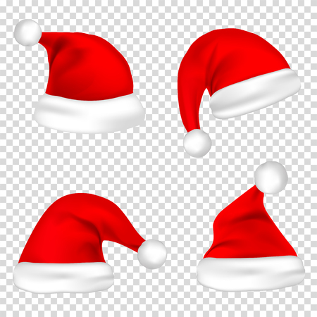 Christmas Santa Claus hats set. Ilustrace