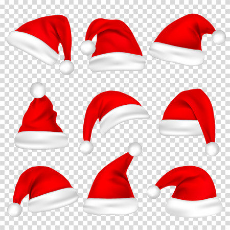 Christmas Santa Claus hats. Stock Illustratie