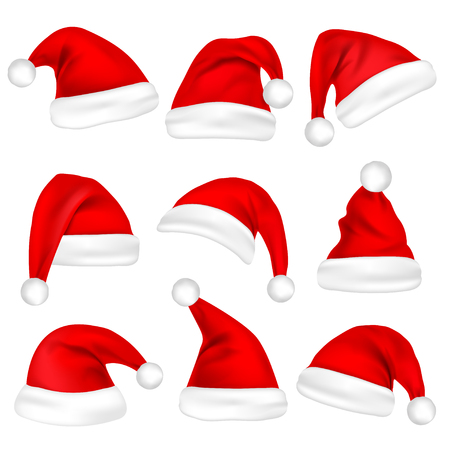 Christmas Santa Claus hats. Vectores