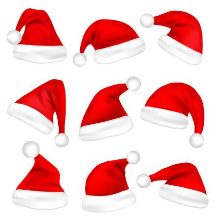 Christmas Santa Claus hats. 矢量图像