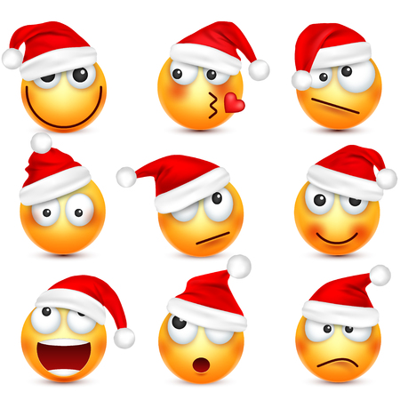 Smiley emoticon set. Yellow face with emotions and Christmas hat. New Year, Santa.Winter emoji. Sad,happy,angry faces.Funny cartoon character.