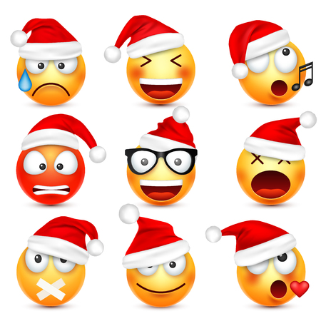 Smiley emoticon set. Yellow face with emotions and Christmas hat. New Year, Santa.Winter emoji. Sad,happy,angry faces.Funny cartoon character