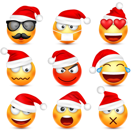 Smiley,emoticon set. Yellow face with emotions and Christmas hat. New Year, Santa.Winter emoji. Sad,happy,angry faces.Funny cartoon character. Ilustracja