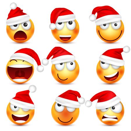 Smiley, emoticonset. Geel gezicht met emoties en kerstmuts. Nieuwjaar, Santa.Winter-emoji. Droevige, gelukkige, boze gezichten. Grappig stripfiguurtje.