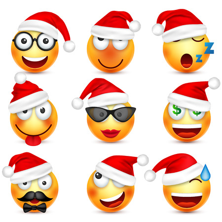 Smiley,emoticon set. Yellow face with emotions and Christmas hat. New Year, Santa.Winter emoji. Sad,happy,angry faces.Funny cartoon character. Illustration
