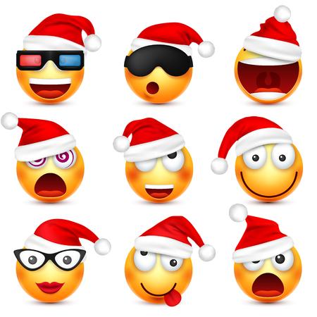 Smiley, emoticonset. Geel gezicht met emoties en kerstmuts. Nieuwjaar, Santa.Winter-emoji. Droevige, gelukkige, boze gezichten. Grappig stripfiguur. Vector.