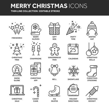 Kerstmis en Nieuwjaar dunne lijn web icon set.