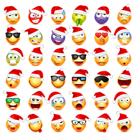 Smiley,emoticon set. Yellow face with emotions and Christmas hat. New Year, Santa. Winter emoji. Sad,happy,angry faces.Funny cartoon character. Mood.