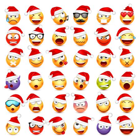 Buźka, zestaw emotikonów. Żółta twarz z emocjami i świątecznym kapeluszem. Nowy Rok, Mikołaju. Emotikony zimowe. Smutne, szczęśliwe, wściekłe twarze. Zabawna postać z kreskówki. Nastrój. Ilustracje wektorowe