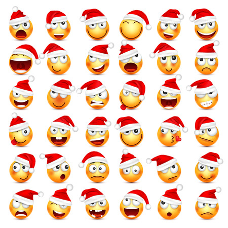 Smiley,emoticon set. Yellow face with emotions and Christmas hat. New Year, Santa.Winter emoji. Sad,happy,angry faces.Funny cartoon character.Mood. Vector. 免版税图像 - 89064526