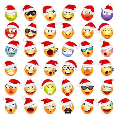 絵文字、顔文字セット。感情やクリスマスの帽子と黄色の顔。新しい年、Santa.Winter 絵文字。悲しい、幸せ、怒っている顔。面白い漫画のキャラクタ