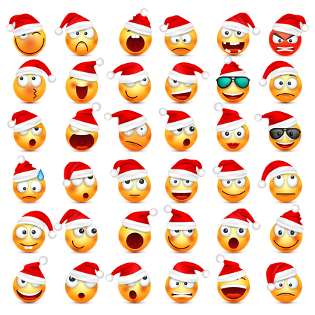 Smiley,emoticon set. Yellow face with emotions and Christmas hat. New Year, Santa.Winter emoji. Sad,happy,angry faces.Funny cartoon character.Mood. Vector.