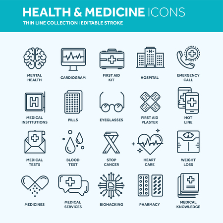 Health care, medicine. First aid. Medical blood tests and diagnostic. Heart cardiogram. Pills and drugs.Thin line web icon set.