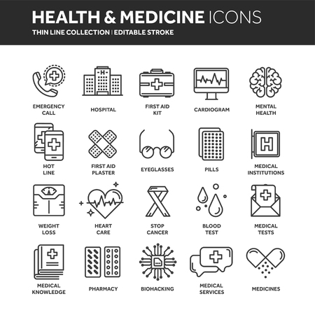 Health care, medicine. First aid. Medical blood tests and diagnostic. Heart cardiogram. Pills and drugs.Thin line web icon set. Illustration