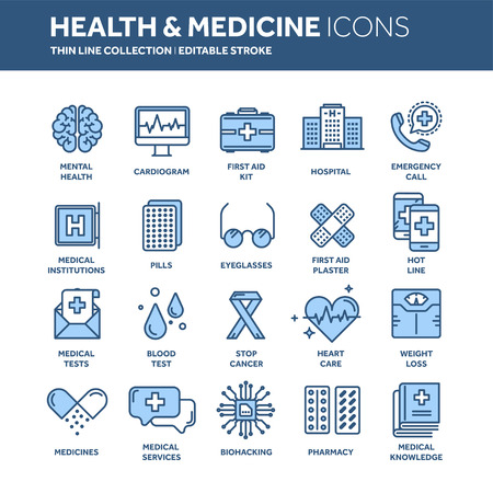 Health care, medicine. First aid. Medical blood tests and diagnostic. Heart cardiogram. Pills and drugs.Thin line web icon set. Ilustracja