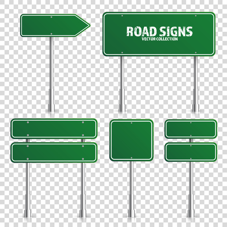 Road green traffic sign.
