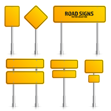 Road yellow traffic sign.