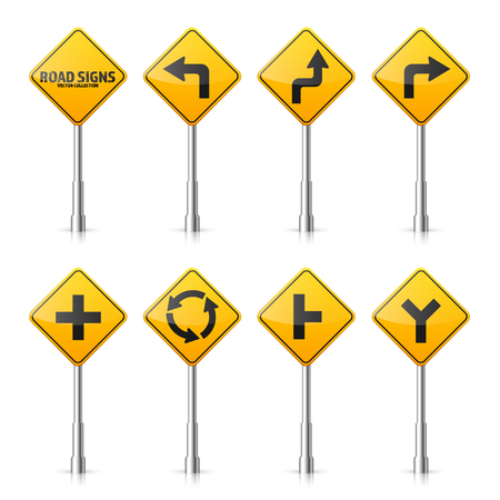 Computer instruction: Road signs collection illustration. Illustration