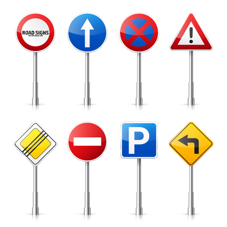 Road signs collection illustration. Ilustração