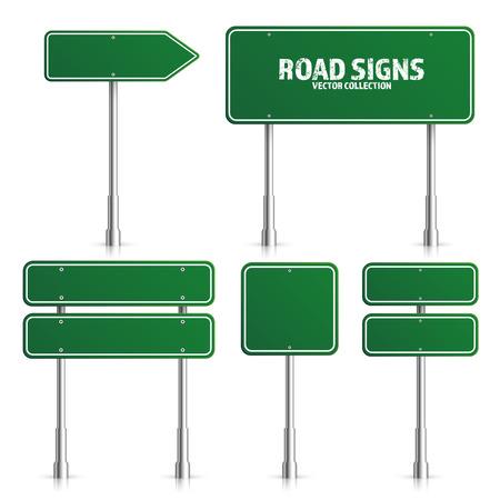 道路グリーン交通標識イラスト。