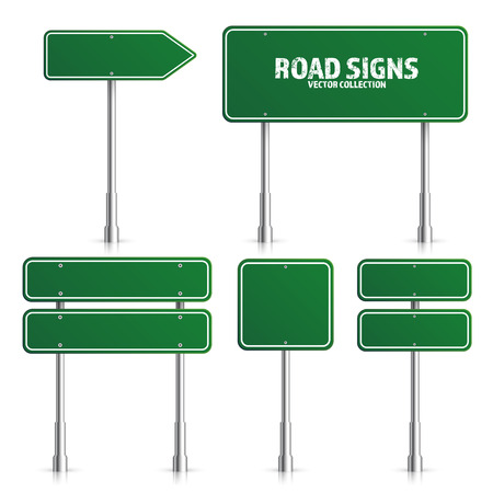 Road green traffic sign illustration. 向量圖像