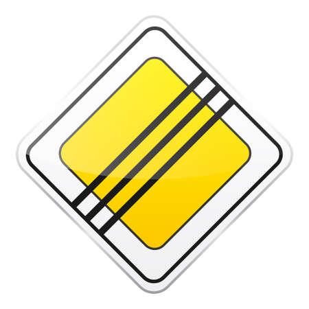 Weg geel teken op witte achtergrond. Road traffic control.Lane gebruik. Stop en geef op. Regulatory sign. Straat. Stock Illustratie