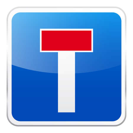 Road blue sign on white background. Road traffic control.Lane usage. Regulatory sign. Street.