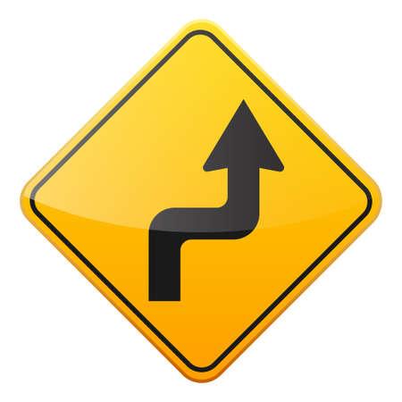 Road yellow sign icon. Illustration
