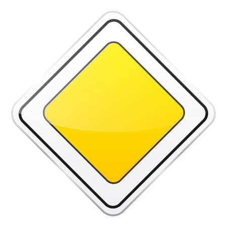 Computer instruction: Road yellow sign icon. Illustration